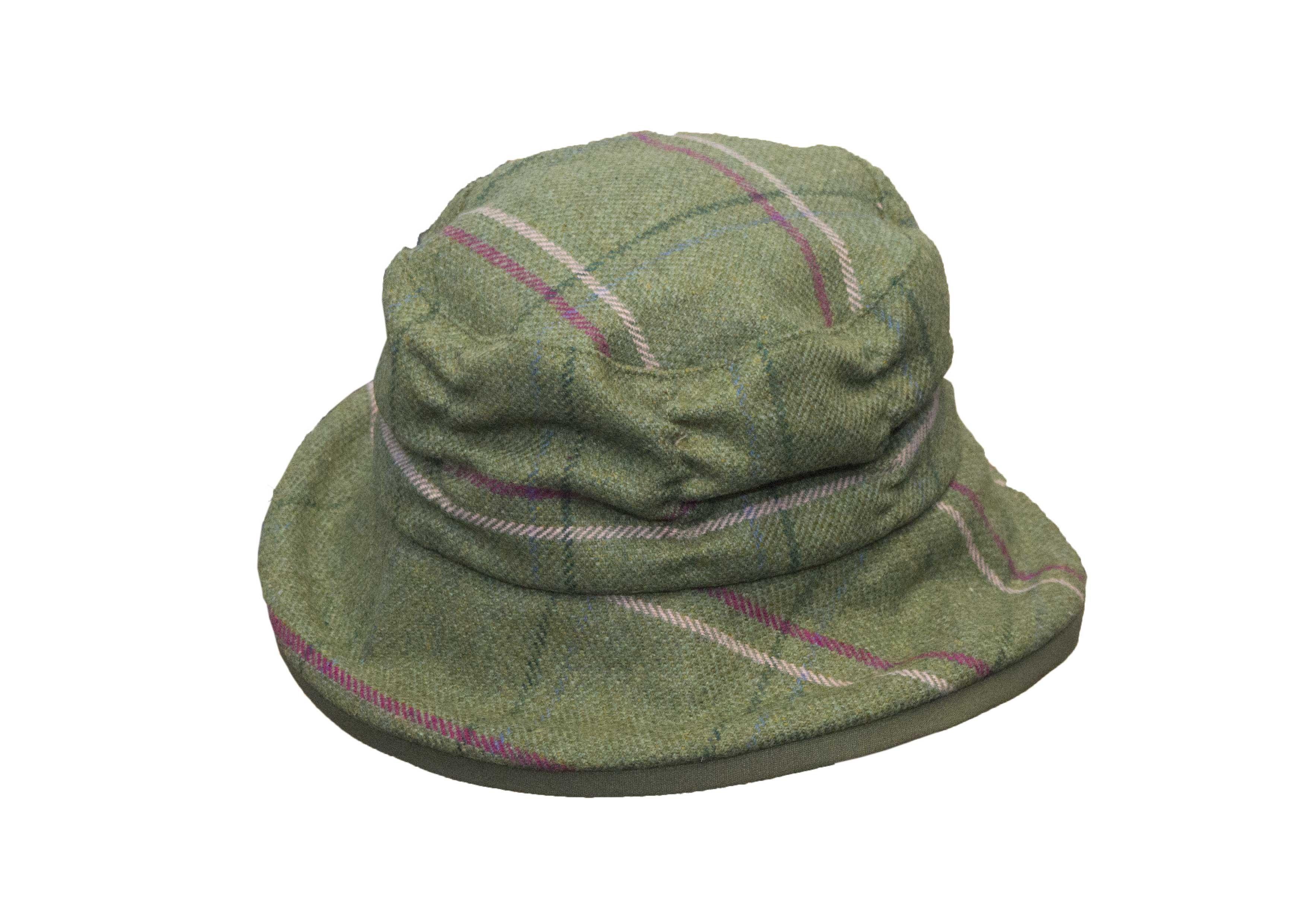 Chapeau en tweed femme vert et rose