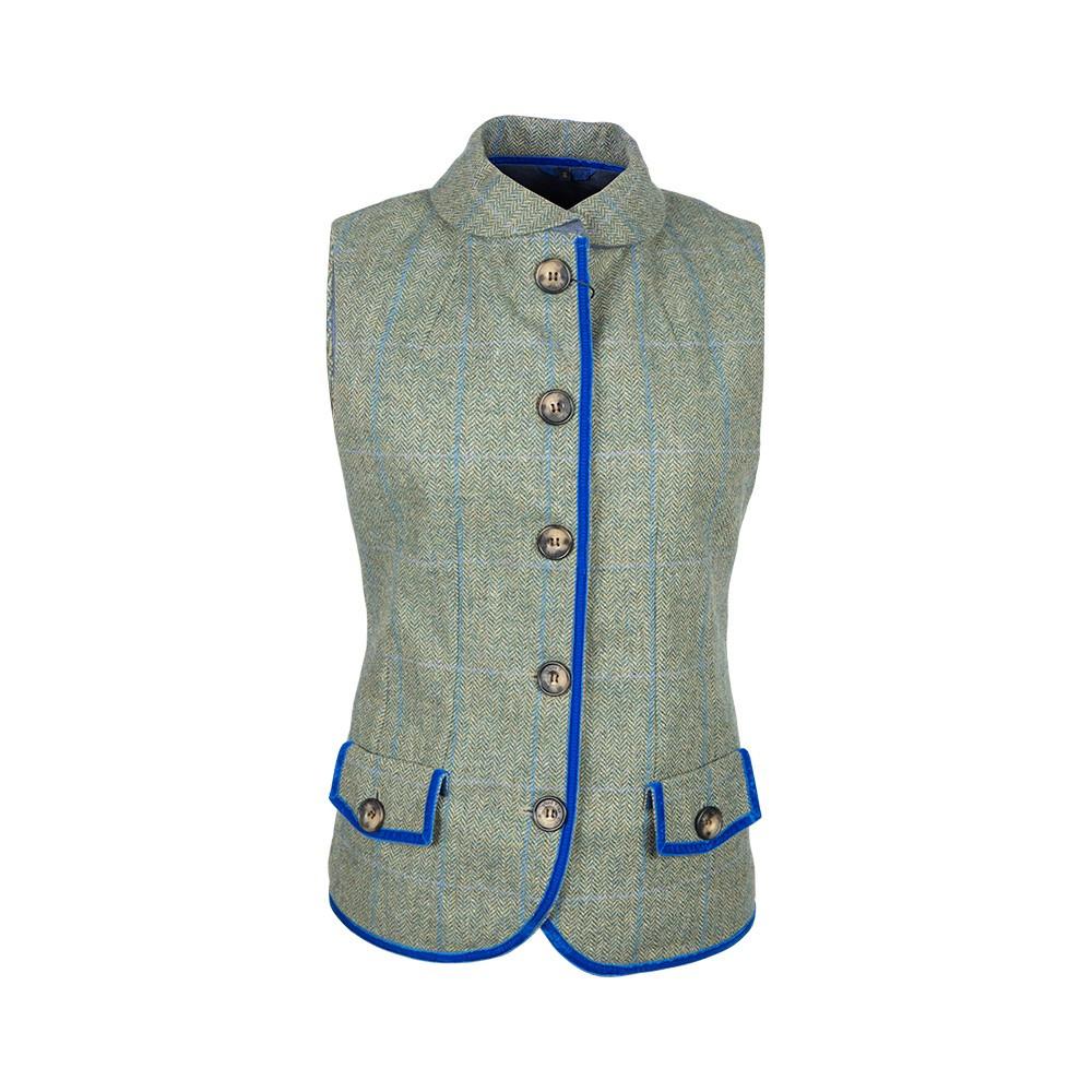 Gilet tweed femme bleu et vert Oxford Blue