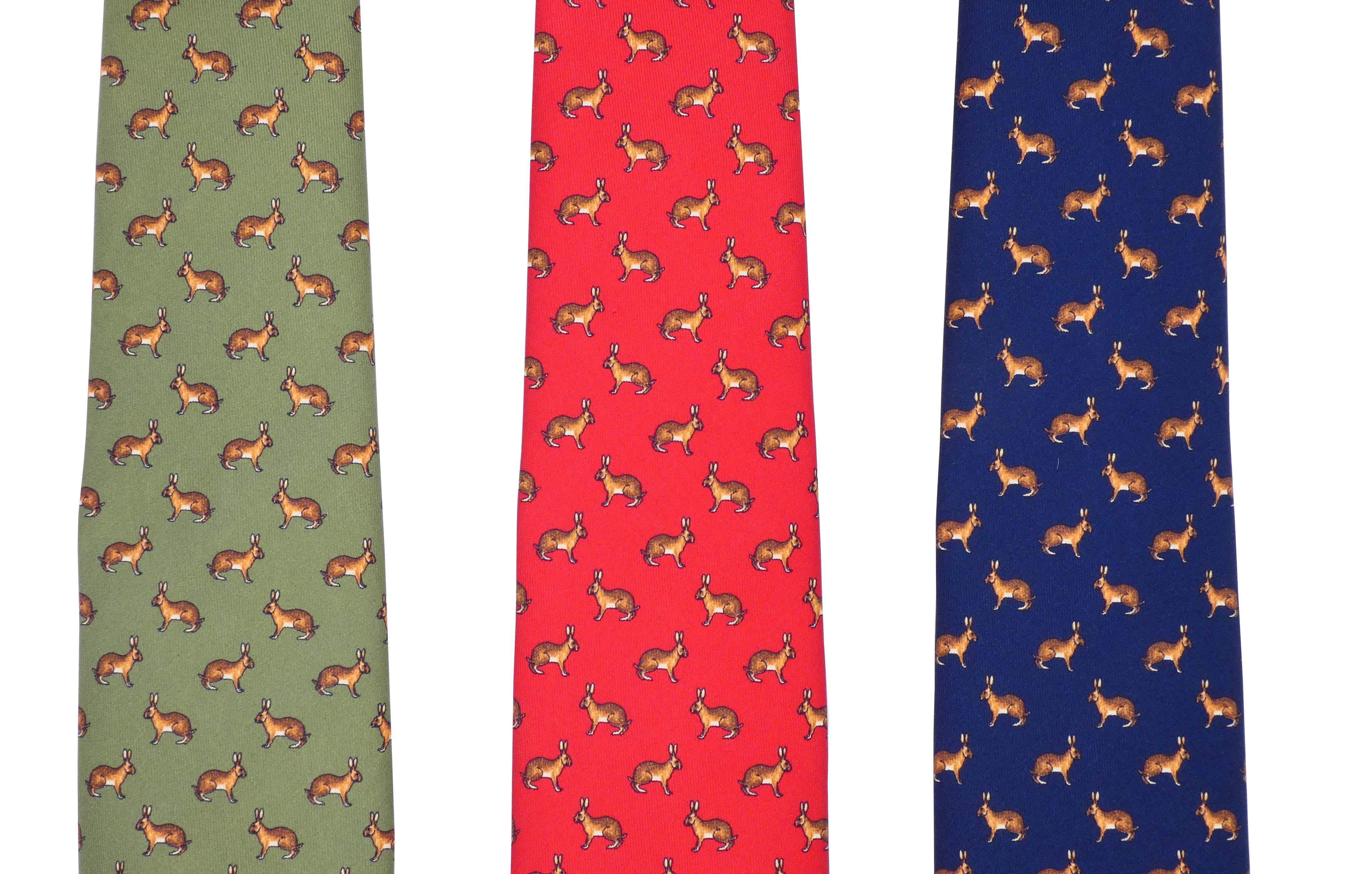 Cravate de chasse en soie Lièvre