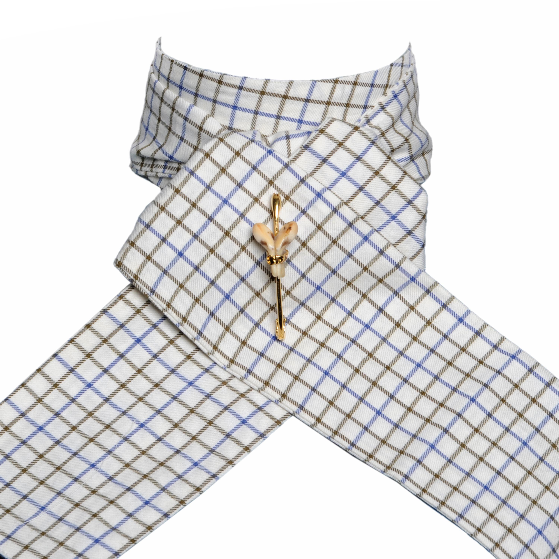 Cravate de vénerie à carreaux Vert & Bleu