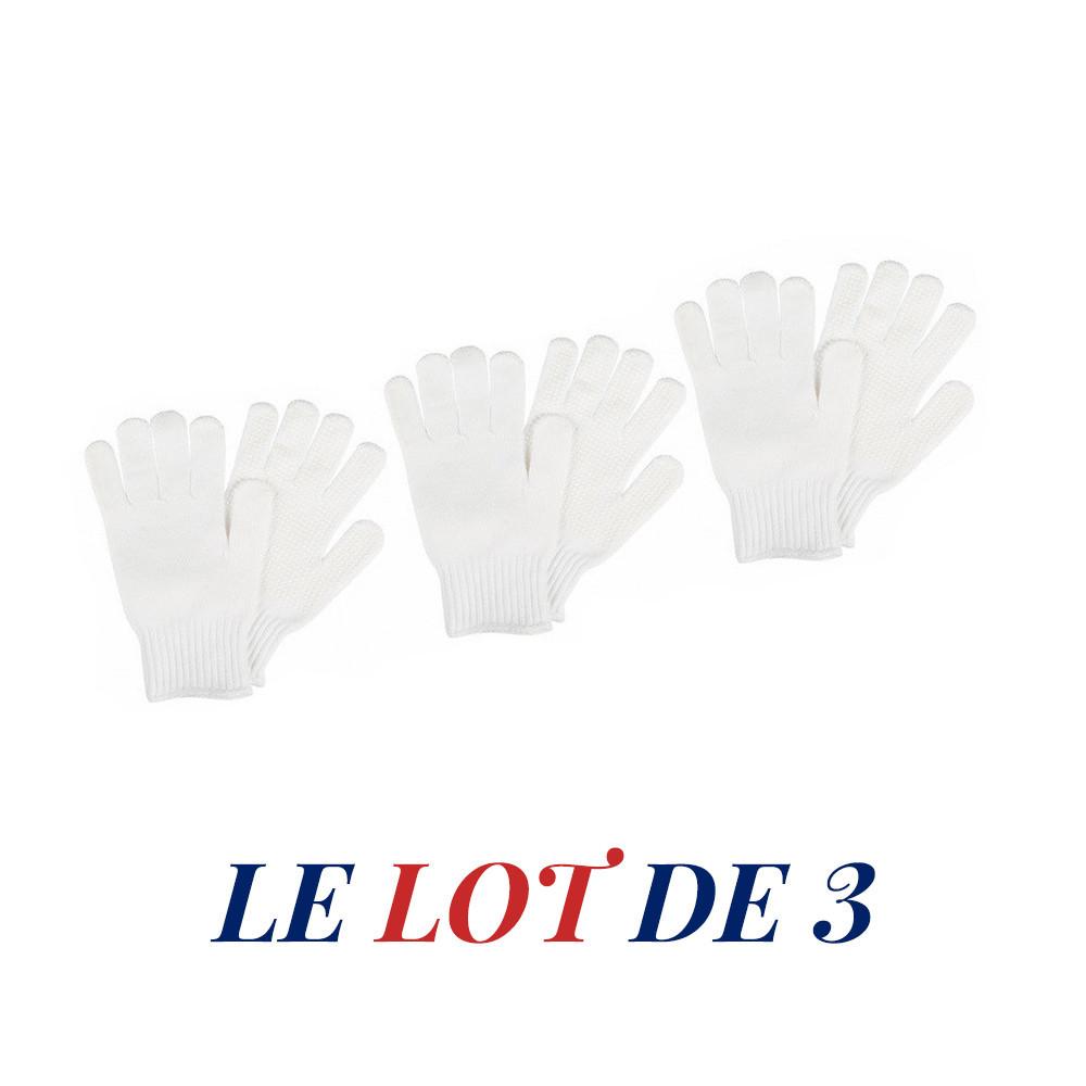LOT de 3 paires de gants tricot à picots