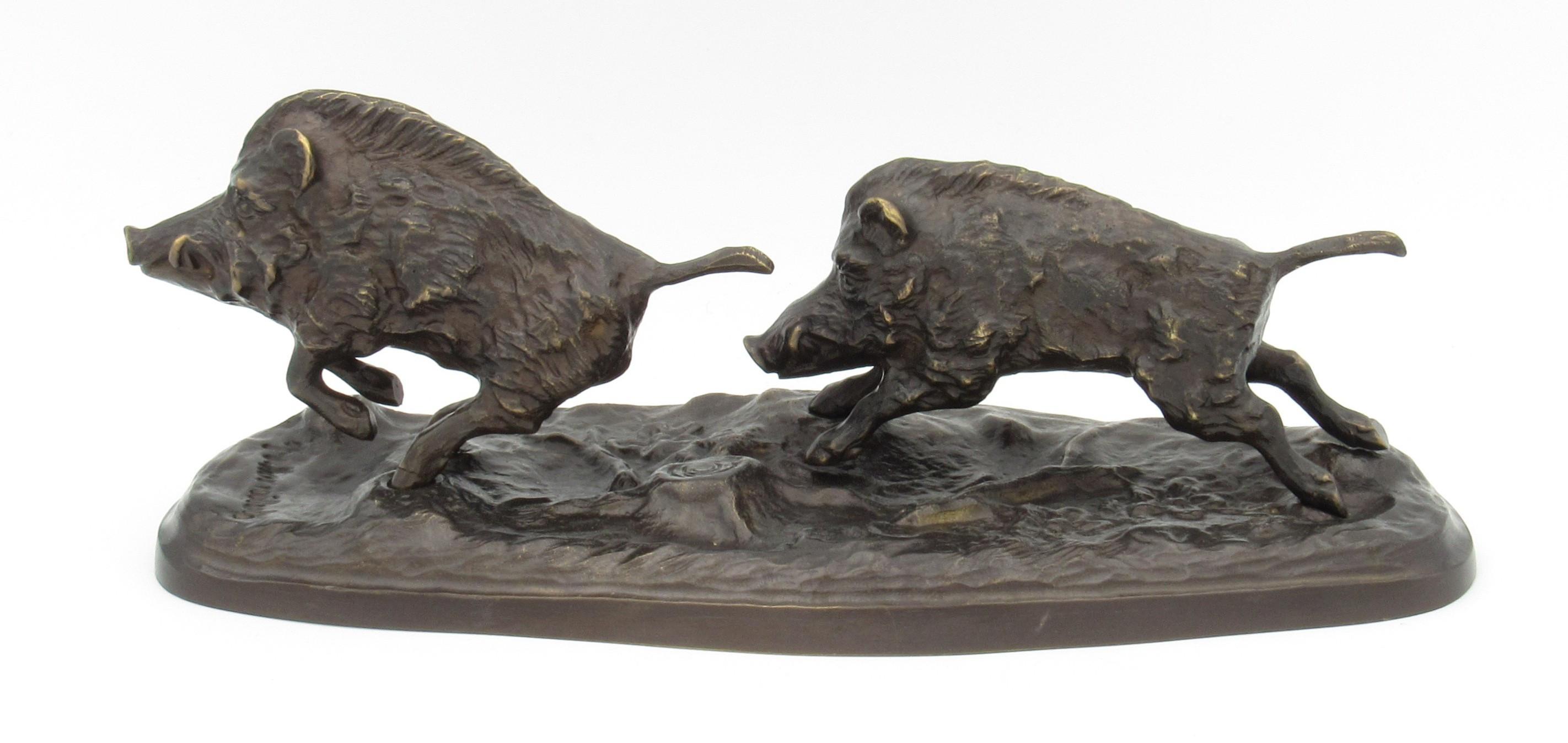 Bronze Deux sangliers à la course