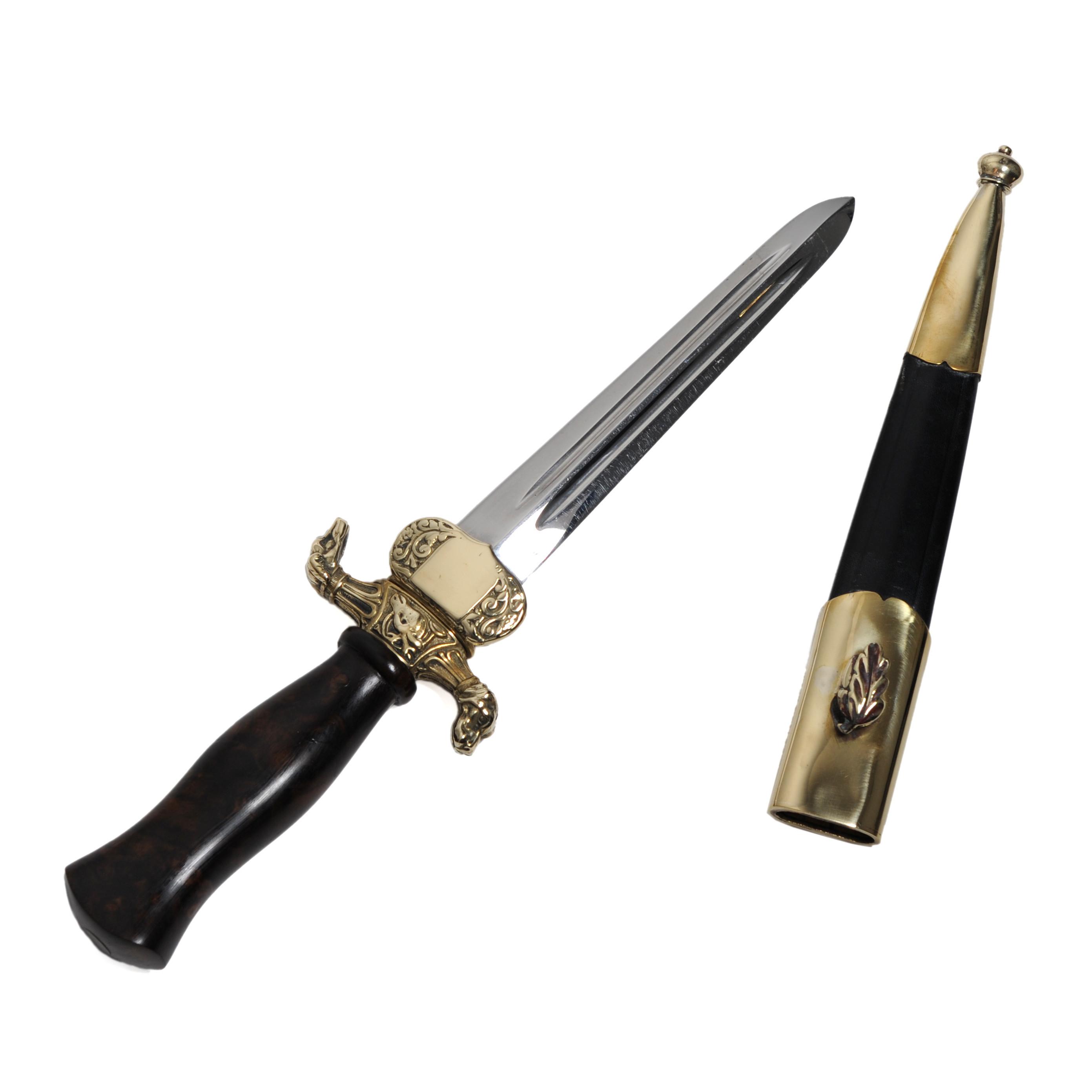 Dague de vénerie - poignée loupe de noyer - sous garde - Dorée