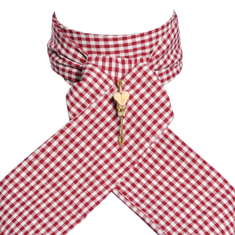 Cravate de vénerie vichy rouge