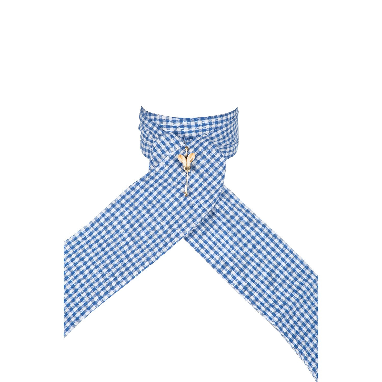 Cravate de vénerie vichy bleu clair
