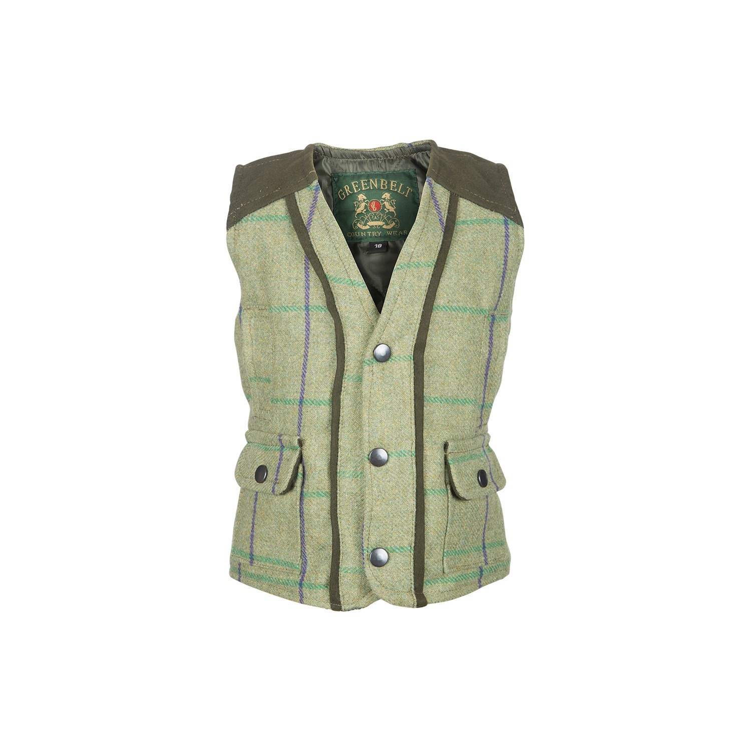 Gilet enfant en tweed vert à carreaux violet ou rose