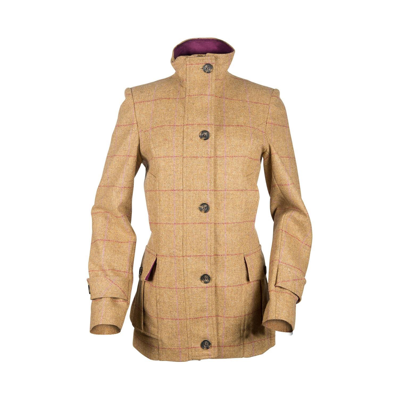 Manteau femme en tweed ocre à carreaux grenat